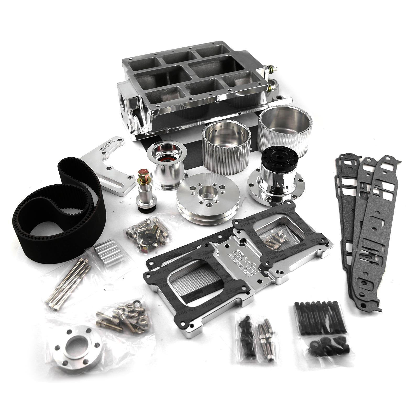 Oldsmobile Supercharger Kits: The Blower Shop SBC Std Port Polished 2V Accessory Drive