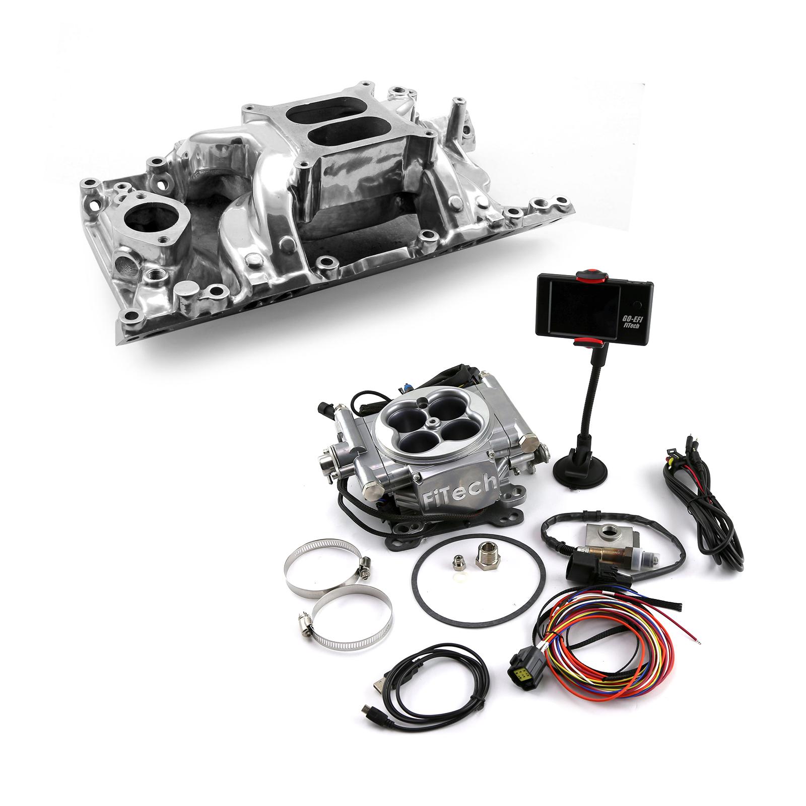 Mopar Chrysler SB 318 360 Manifold & FiTech Go EFI 30001 Fuel Injection