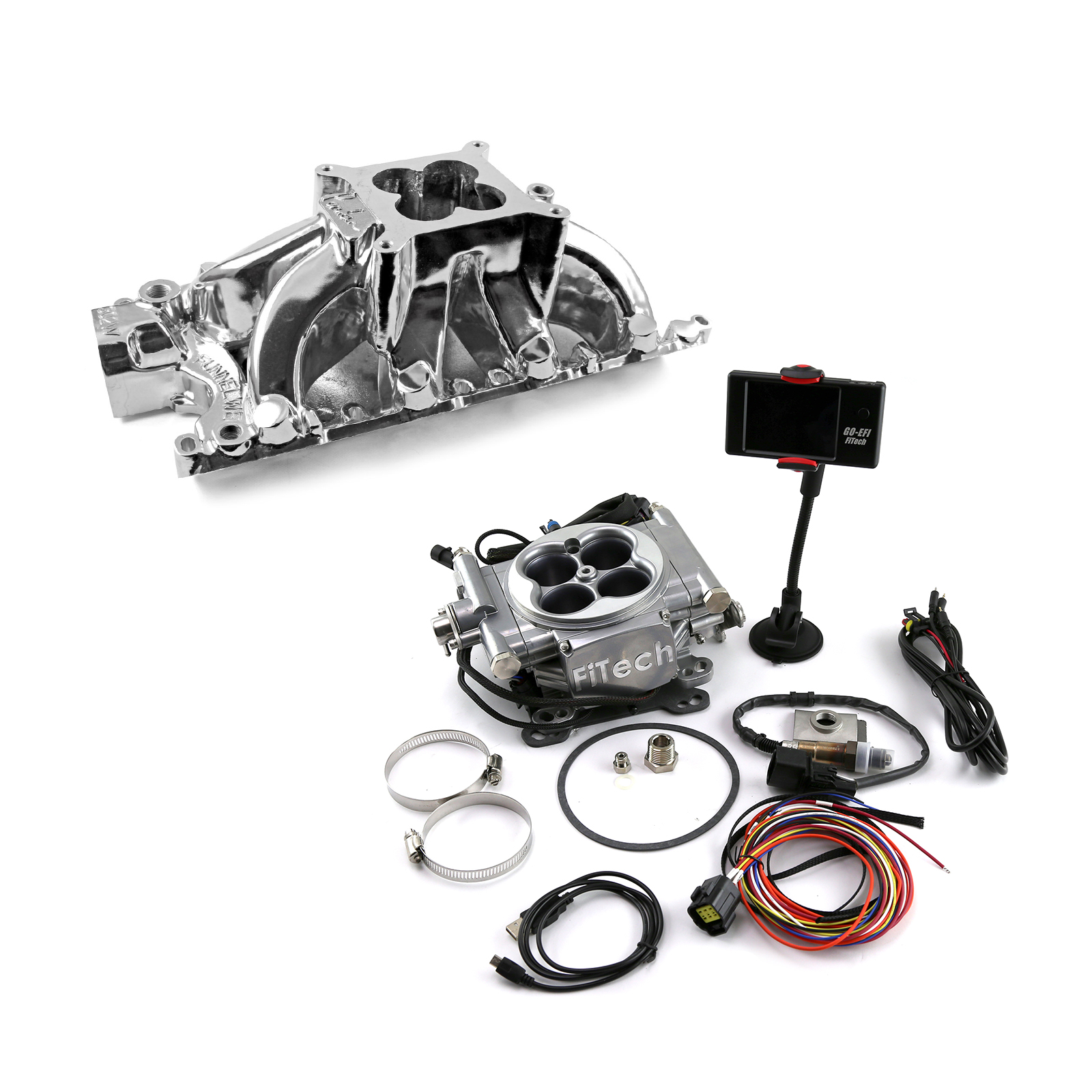 Ford SB 289 302W Parker Style Manifold & FiTech Go EFI 30001 Fuel Injection