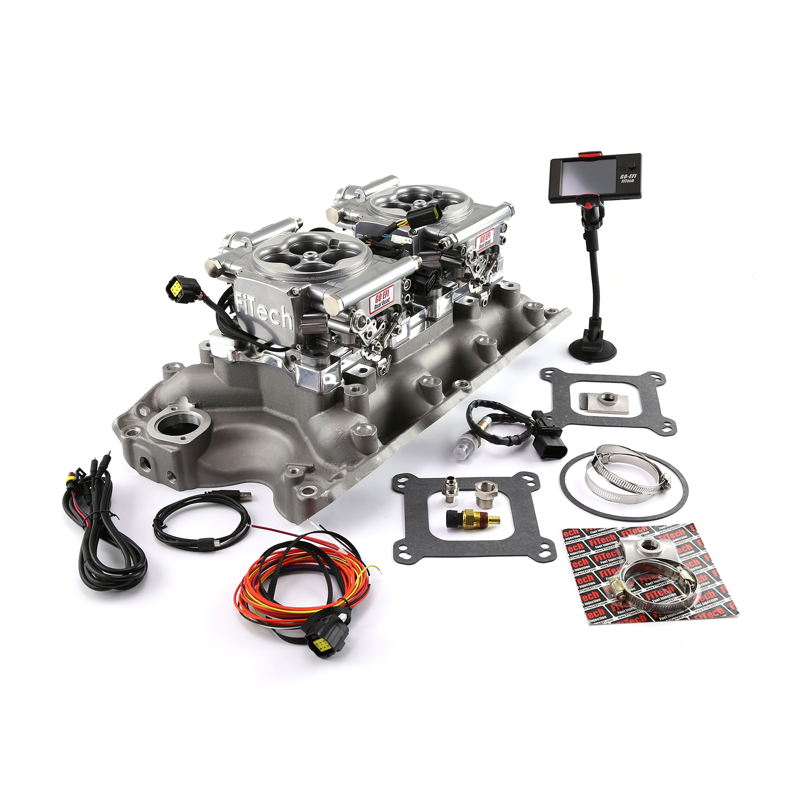 Ford 429 460 Twin Intake Manifold & Dual Fitech EFI 30061 Fuel Injection