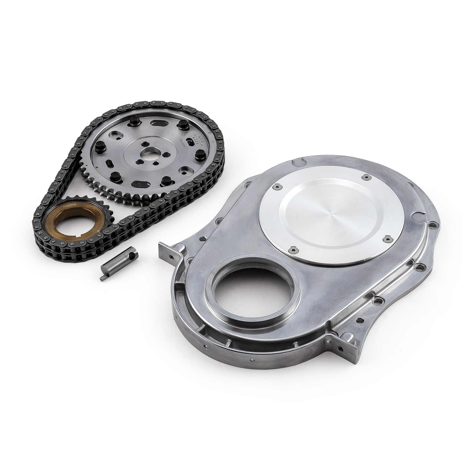 Chevrolet Performance 12562818 Timing Chain Cover: Chevy BBC 454 Double Roller 2pc Adj Billet Steel Timing