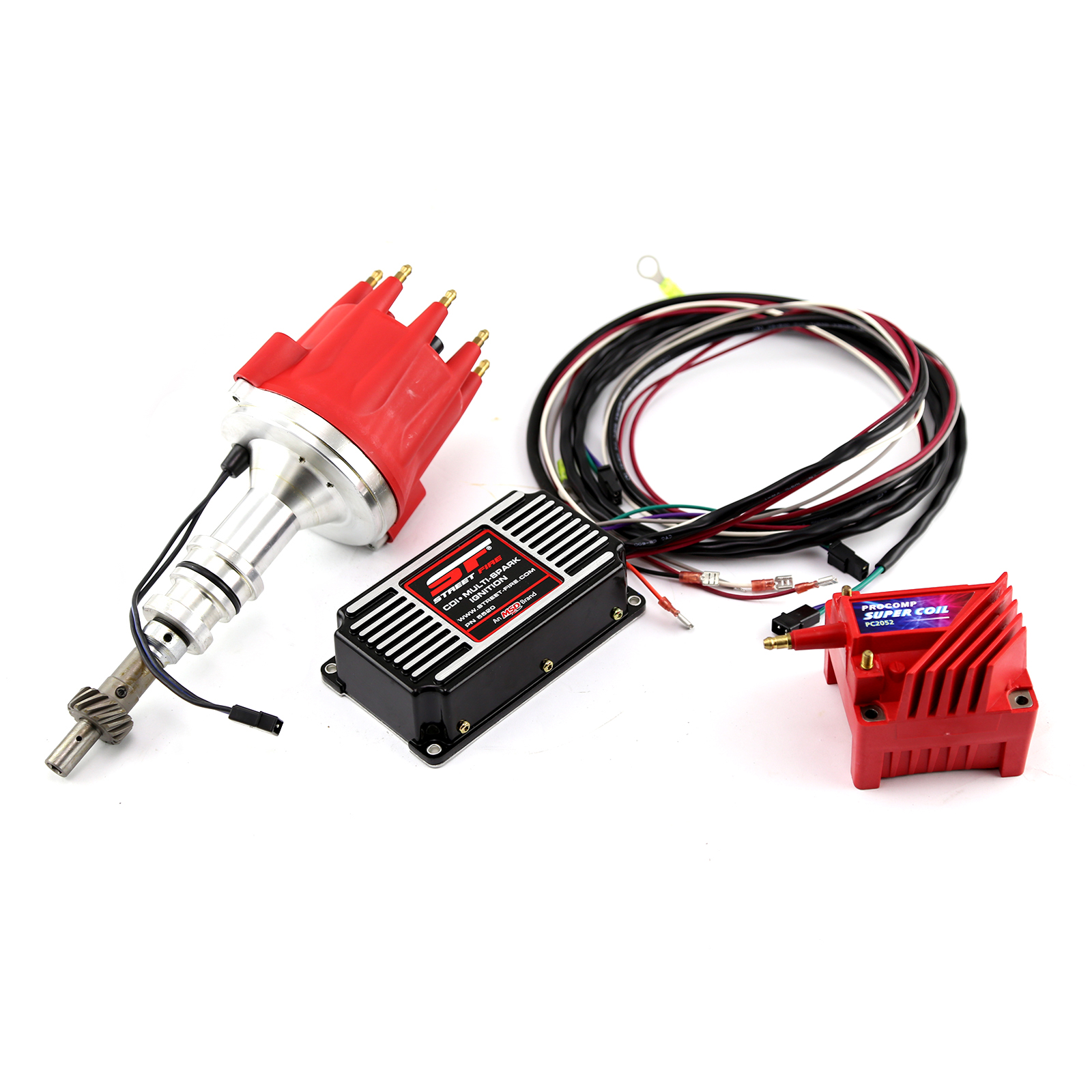 MSD, PCE Ford 302C 351C Cleveland Pro Billet Distributor MSD CDI 5520 Ignition & Coil Kit