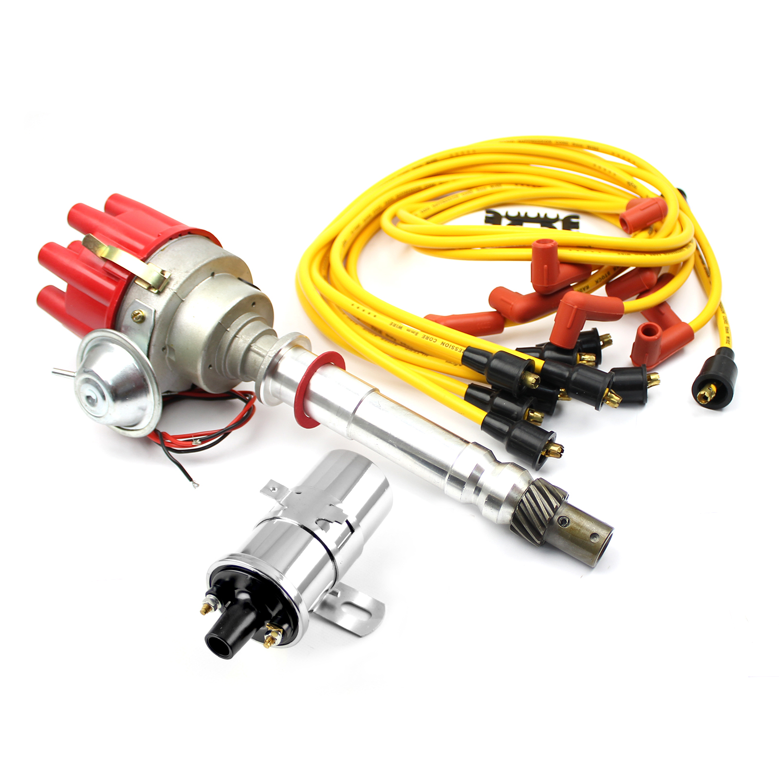 Chevy SBC 350 BBC 454 Distributor (Vacuum) Red + Chrome Coil + Accel Wire Leads