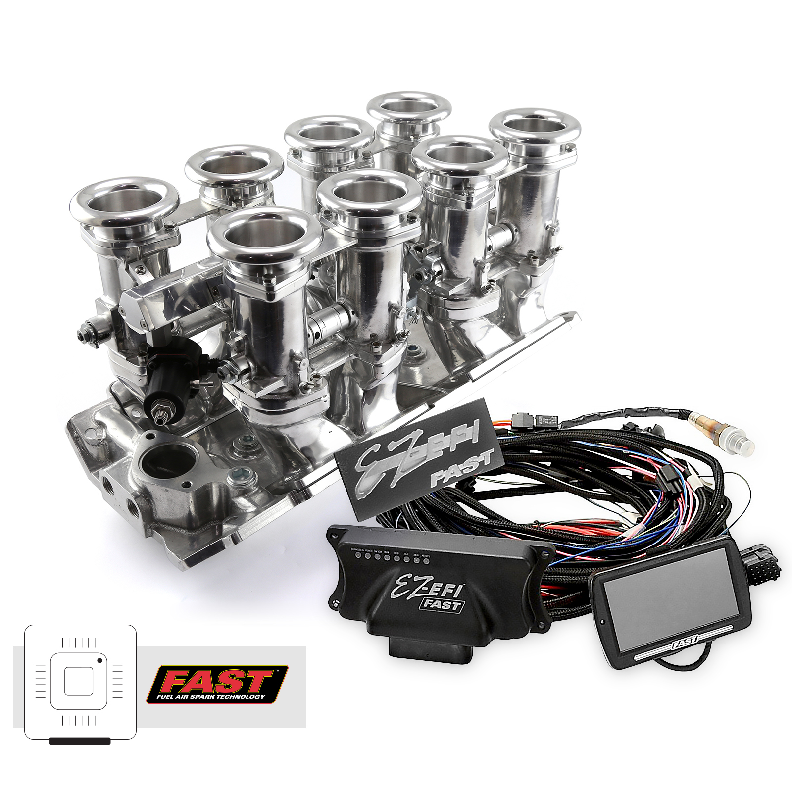 Chevy BBC 454 Downdraft + FAST EZ-EFI 2.0 Fuel Injection System - Polished