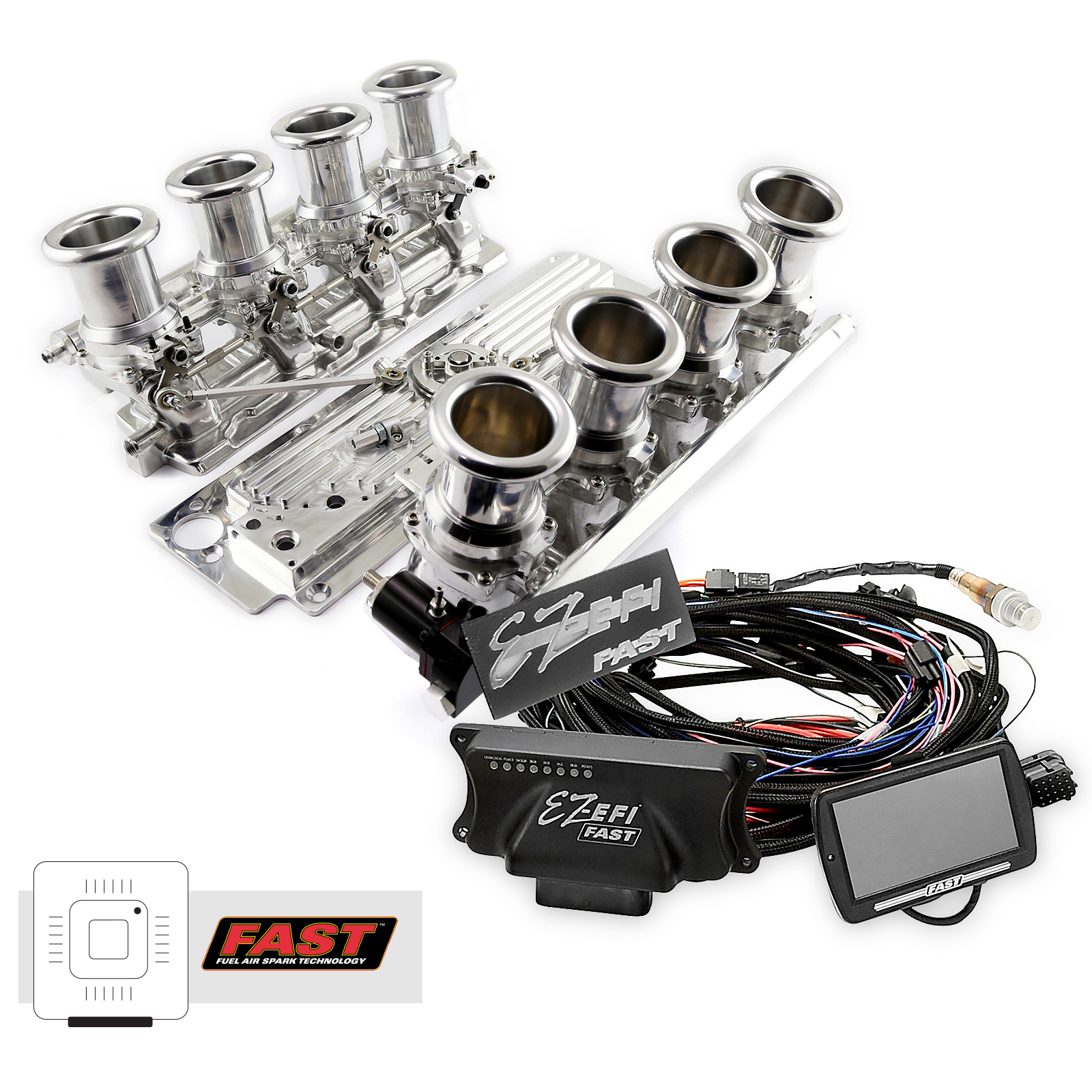 Chevy GM LS3 Downdraft + FAST EZ-EFI 2.0 Fuel Injection System - Polished