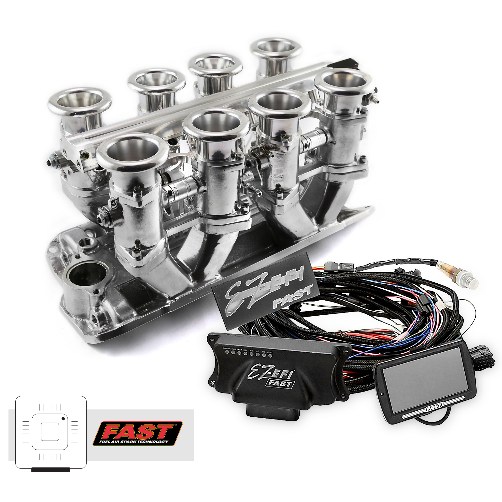 Chevy SBC 350 Downdraft + FAST EZ-EFI 2.0 Fuel Injection System - Polished