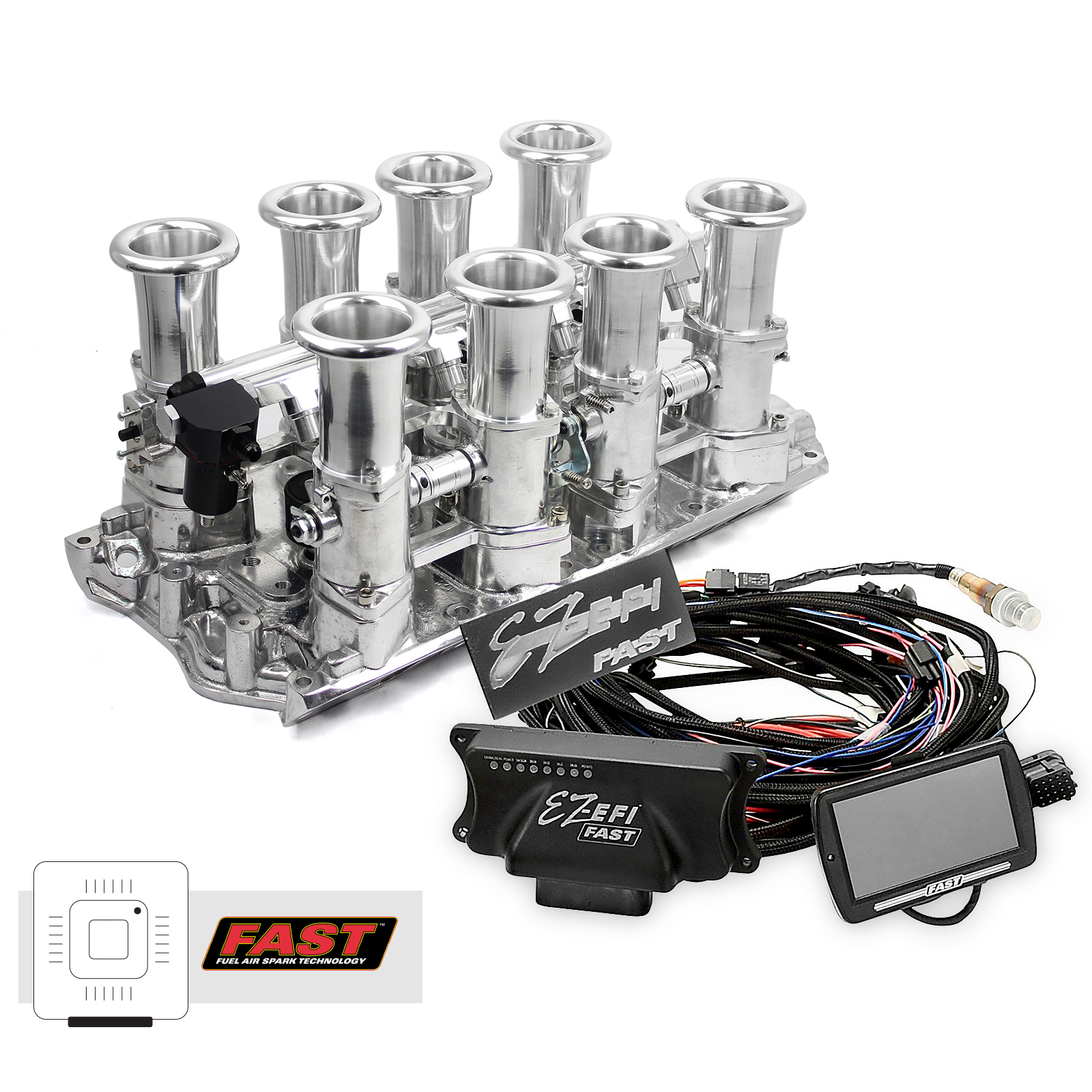 Ford 351W Windsor Downdraft + FAST EZ-EFI 2.0 Fuel Injection System - Polished