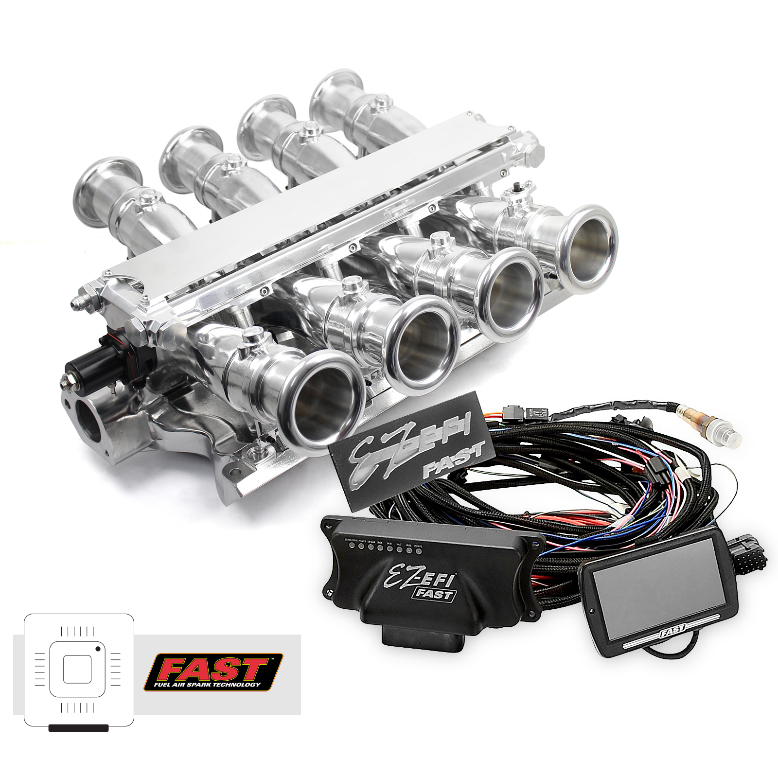 Ford 351W Windsor Sidedraft + FAST EZ-EFI 2.0 Fuel Injection System - Polished