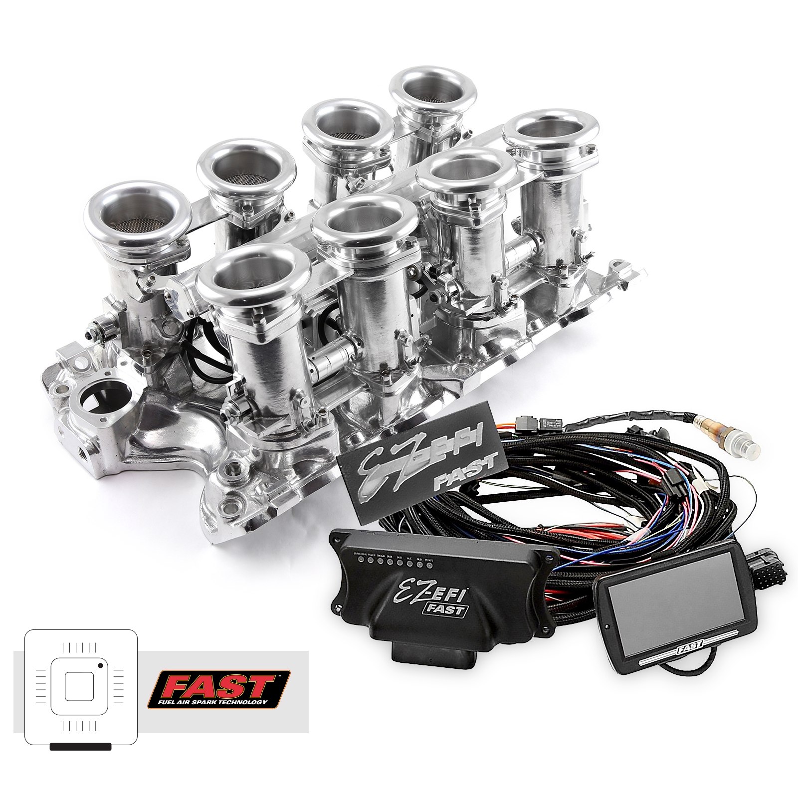 Ford BB 460 Downdraft + FAST EZ-EFI 2.0 Fuel Injection System - Polished