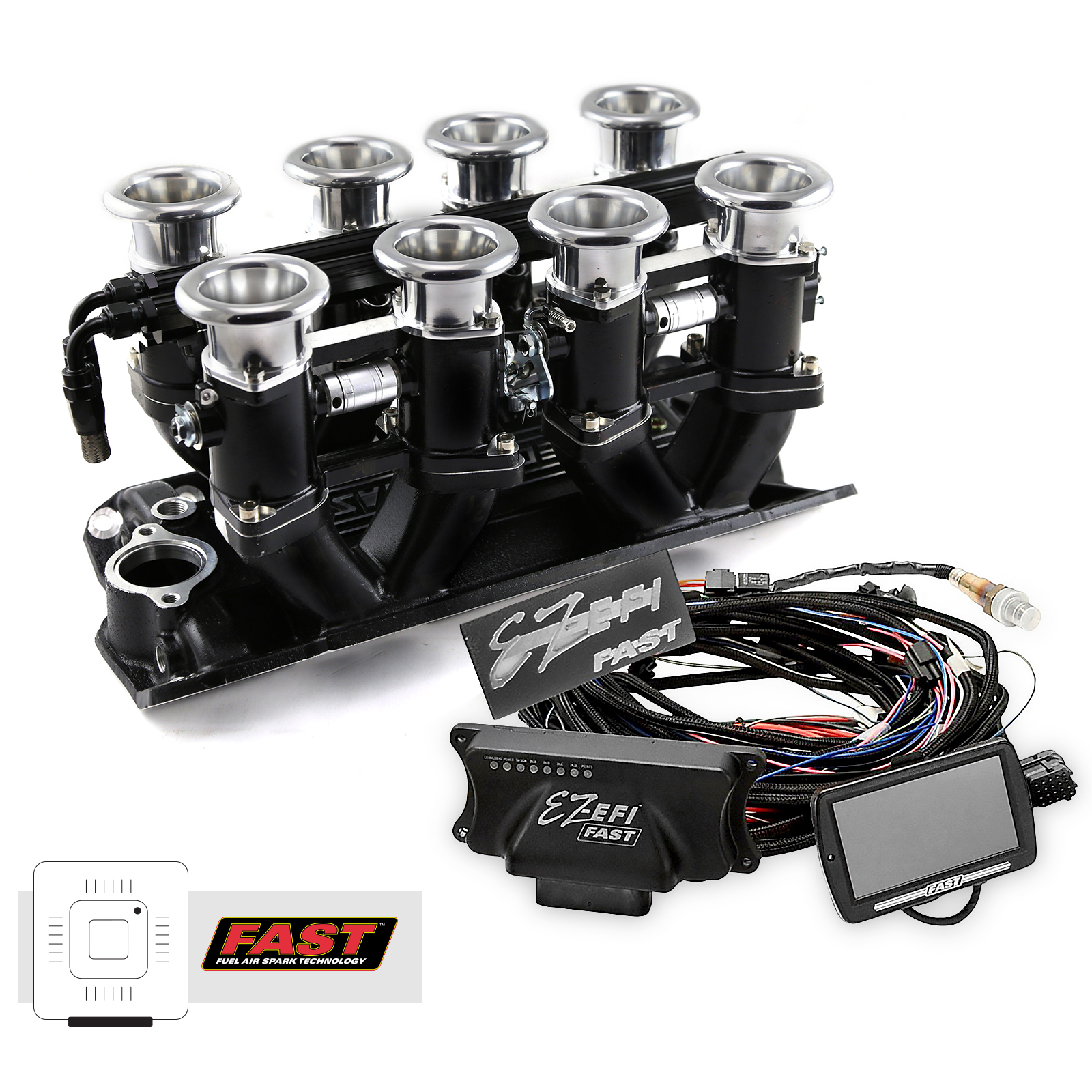 Chevy SBC 350 Downdraft + FAST EZ-EFI 2.0 Fuel Injection System - Black